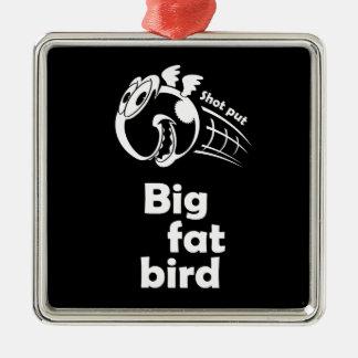Big fat shot put bird Silver-Colored square ornament