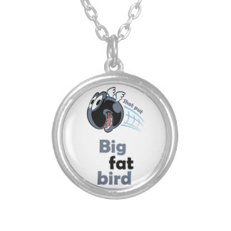 Big fat shot put bird silver plated necklace