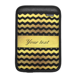 Big Faux Gold Foil Black Chevrons Sleeve For iPad Mini