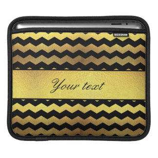 Big Faux Gold Foil Black Chevrons Sleeve For iPads