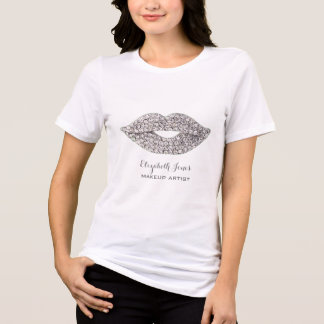 big FAUX rhinestone lips makeup artist T-Shirt