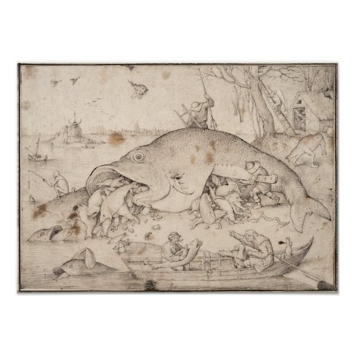Big Fish Eat Little Fish by Pieter Bruegel Poster