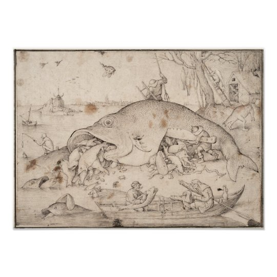 Big Fish Eat Little Fish by Pieter Bruegel Poster
