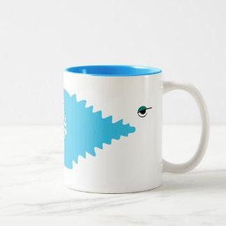 Big Fish Minimal Funny Blue Sea White Cool Simple Two-Tone Coffee Mug