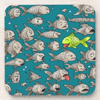 Big Fish Plastic Coasters with Cork Back