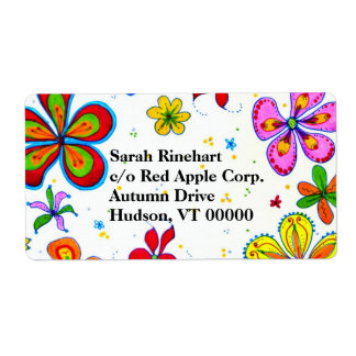 Big Flowers Art Custom Text Shipping Label
