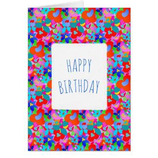 Big flowers customizable Happy Birthday Card