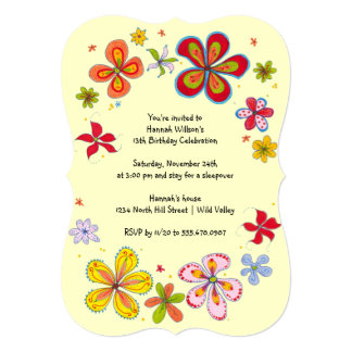 Big Flowers Teen Girl's Birthday Party Invitation