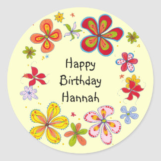 Big Flowers Teen Girls Template Birthday Stickers