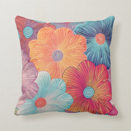Big Flowers Throw Pillow