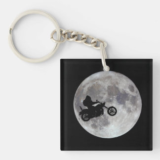 Big foot, big bike and a big bright moon Double-Sided square acrylic keychain