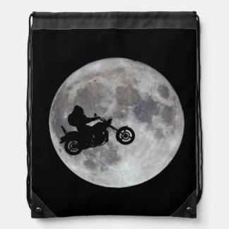 Big foot, big bike and a big bright moon drawstring bag
