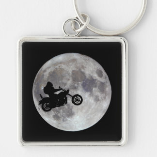 Big foot, big bike and a big bright moon Silver-Colored square keychain