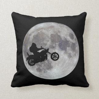 Big foot, big bike and a big bright moon throw pillow