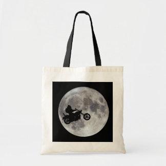 Big foot, big bike and a big bright moon tote bag