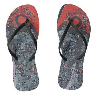 Big Foot One Toe  Abstract Flip Flops