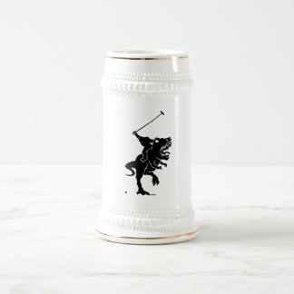 Big foot playing polo on a T-rex Beer Stein