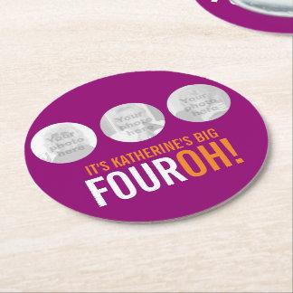 BIG FOUROH! 40 name and photo templates coasters