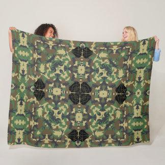 Big Game Hunter Geometric Camouflage Mandala Fleece Blanket