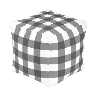 Big Gingham Pattern – Monochrome Pouf