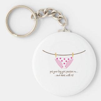 big girl basic round button keychain