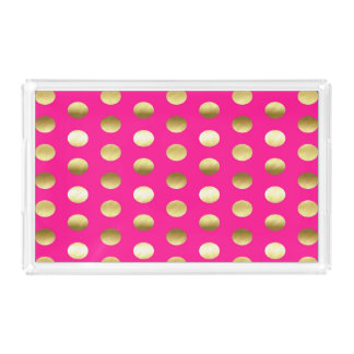Big Gold Foil Polka Dots Hot Pink Acrylic Tray