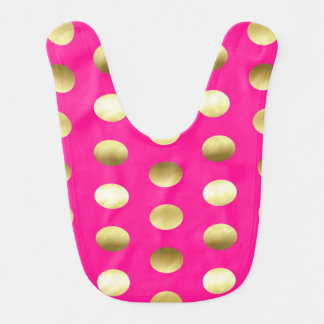 Big Gold Foil Polka Dots Hot Pink Baby Bib