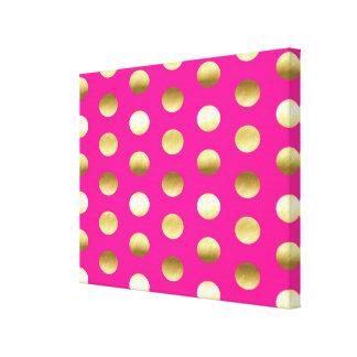 Big Gold Foil Polka Dots Hot Pink Canvas Print