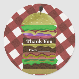 Big Greasy Hamburger Summer Cookout Red BBQ Party Classic Round Sticker