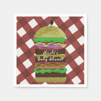 Big Greasy Hamburger Summer Cookout Red BBQ Party Paper Napkin