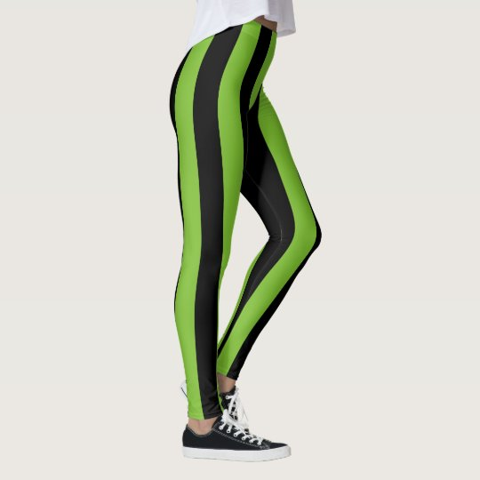 Big Green Black Stripes Leggings