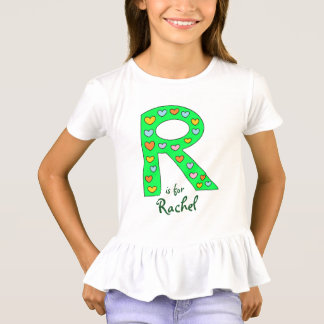 Big Green Letter R Design Personalized Girl's Name T-Shirt