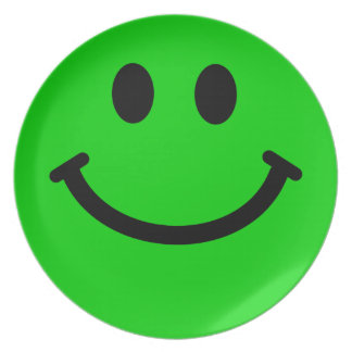 Big Green Smiley Face Plate