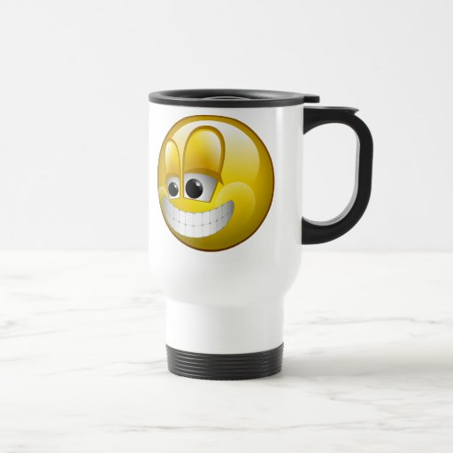 BIG GRIN SMILEY FACE STAINLESS STEEL TRAVEL MUG
