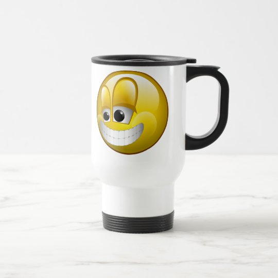 BIG GRIN SMILEY FACE TRAVEL MUG