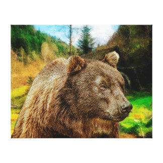 Big Grizzly Bear And Beautiful Mountains Landscape Canvas Print