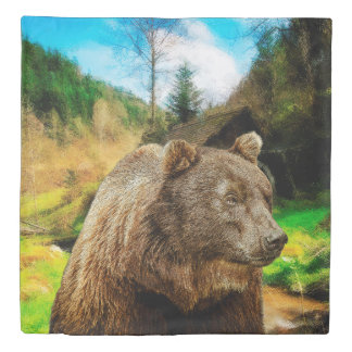 Big Grizzly Bear And Beautiful Mountains Landscape Duvet Cover