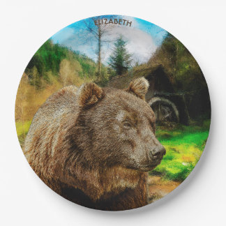 Big Grizzly Bear And Beautiful Mountains Landscape Paper Plate