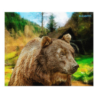 Big Grizzly Bear And Beautiful Mountains Landscape Photo Print