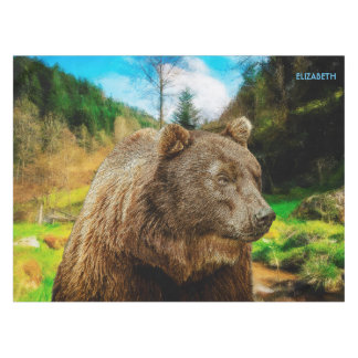 Big Grizzly Bear And Beautiful Mountains Landscape Tablecloth