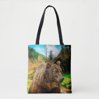 Big Grizzly Bear And Beautiful Mountains Landscape Tote Bag