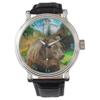 Big Grizzly Bear And Beautiful Mountains Landscape Watch