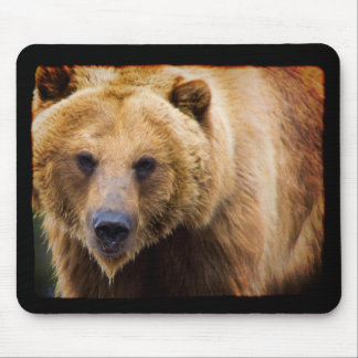 Big Grizzly Bear Black Border Mouse Pad
