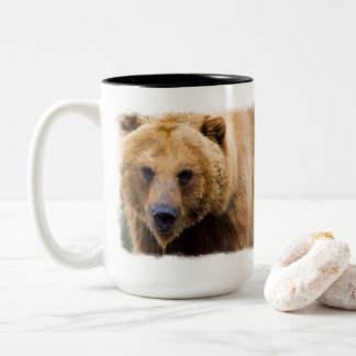 Big Grizzly Bear Close Enough Two-Tone Coffee Mug