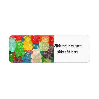Big gummy bears pattern for big & small,candy,fun, return address label