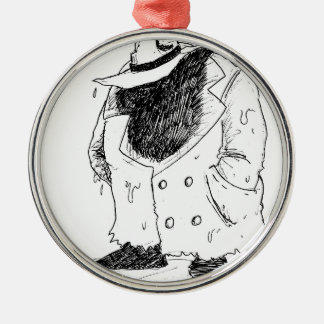 Big guy in trenchcoat Silver-Colored round ornament
