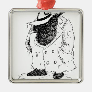 Big guy in trenchcoat Silver-Colored square ornament