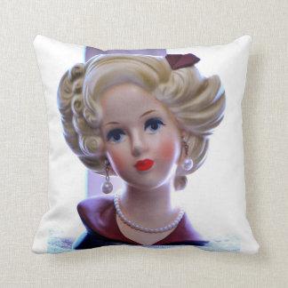 Big Hair Lady Head Vase Attitude Doll Throw Pillow