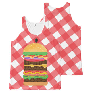 Big Hamburger Summer Burger Red & White Gingham All-Over-Print Tank Top