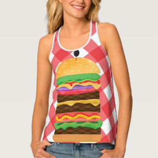 Big Hamburger Summer Burger Red & White Gingham Tank Top